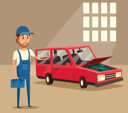 repairs: Car repair. Car service. Vector cartoon illustration. Mechanic repairs car in the garage. Broken car in auto repair shop. Funny mechanic. Professional worker. Illustration