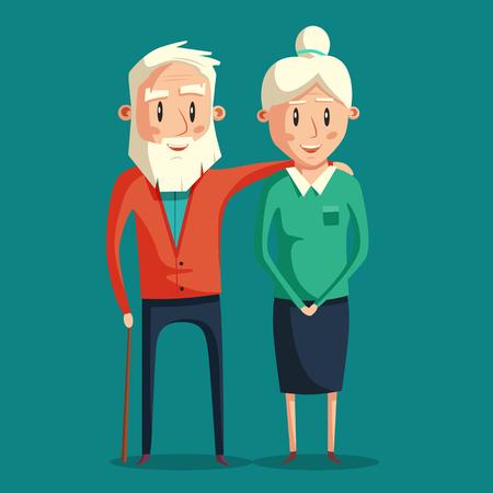 Happy grandparents. Vector cartoon illustration. Grandparents day. Grandpa and grandma standing full length smiling. Elderly couple. Love.