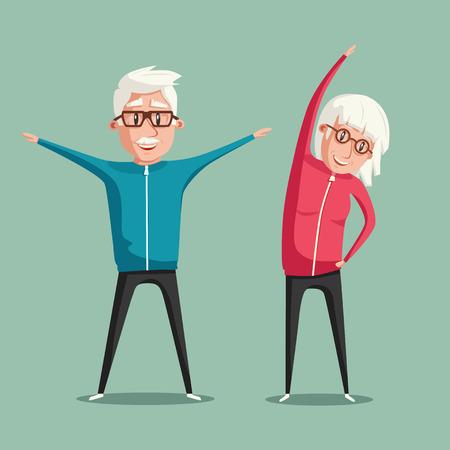 Ältere Leute und Gymnastik. Älteres Paar. Großeltern machen Übungen. Sport. Morgengymnastik. Cartoon Vektor-Illustration Vektorgrafik