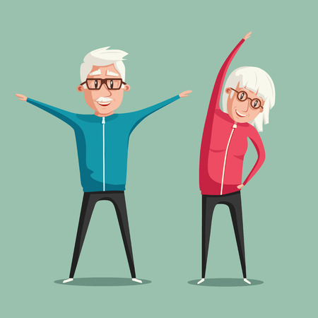Senior people and gymnastics. Elderly couple. Grandparents doing exercises. Sport. Morning exercises. Cartoon vector illustration Illustration