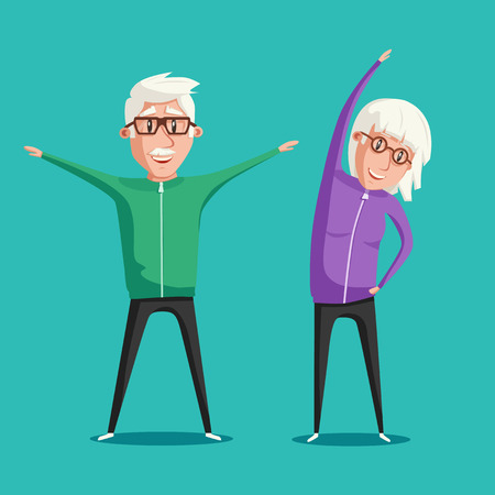 Senior people and gymnastics. Elderly couple. Grandparents doing exercises. Sport. Morning exercises. Cartoon vector illustration Çizim
