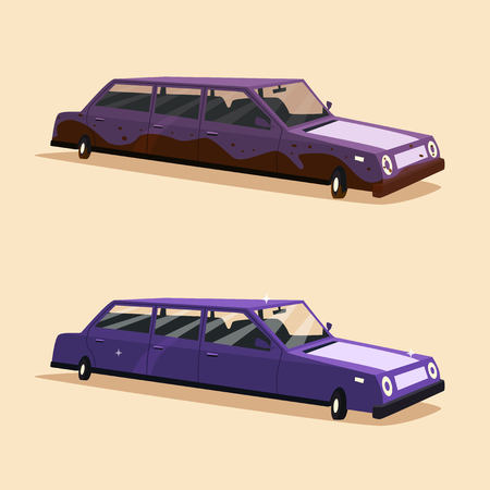 perilous: Clean and dirty vintage american limousine. Cartoon vector illustration. Car isolated. Design element. Carwash. Illustration