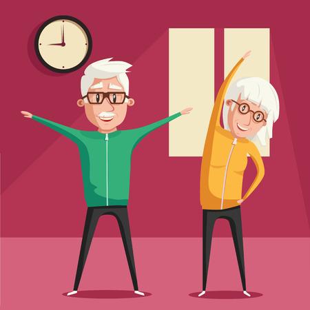 Senior people and gymnastics. Elderly couple. Grandparents doing exercises. Sport. Morning exercises. Cartoon vector illustration Illustration