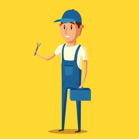 repairs: Car repair. Car service. Vector cartoon illustration. Mechanic repairs car in the garage. Auto repair shop. Funny mechanic. Professional worker.