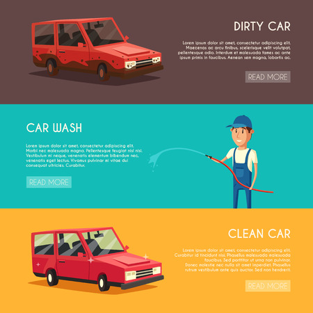 car care center: Car washing service. Vector cartoon illustration. Worker washing a car. Spraying water from the hose. Car wash specialist in uniform