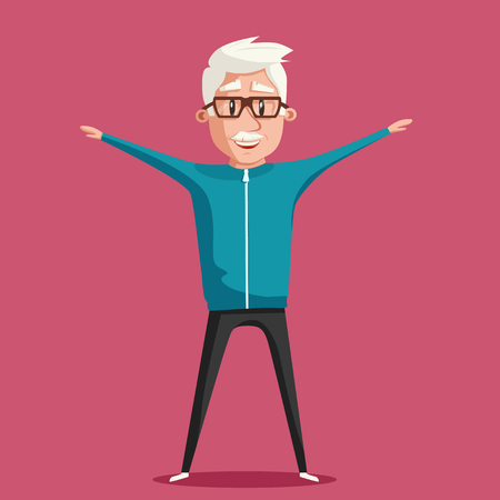 grandparent: Grandfather and gymnastics. Old man. Grandparent doing exercises. Sport. Morning exercises. Cartoon vector illustration