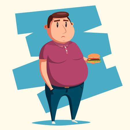 Uomo grasso con l'hamburger. illustrazione vettoriale cartone animato. carattere obesi. Ragazzo grasso. Uomo triste