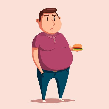 Vette mens met hamburger. Cartoon vector illustratie. Zwaarlijvige karakter. Fatboy. Verdrietige man
