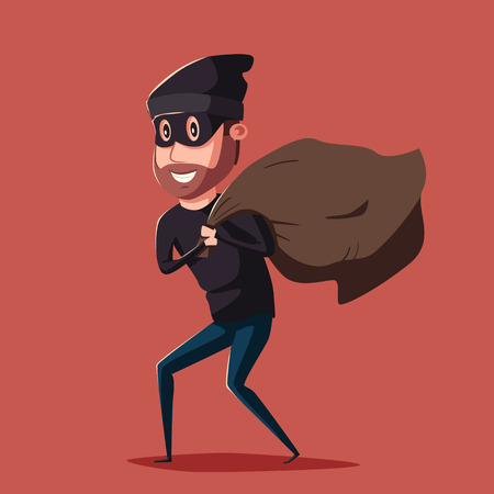bandit: Cute thief character. Vector cartoon illustration. Bandit with bag. Funny person. Happy hacker. Robber in mask