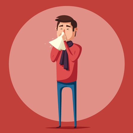 compress: Sick man. Unhappy character. Vector cartoon illustration. Man with handkerchief in hand. Season allergy