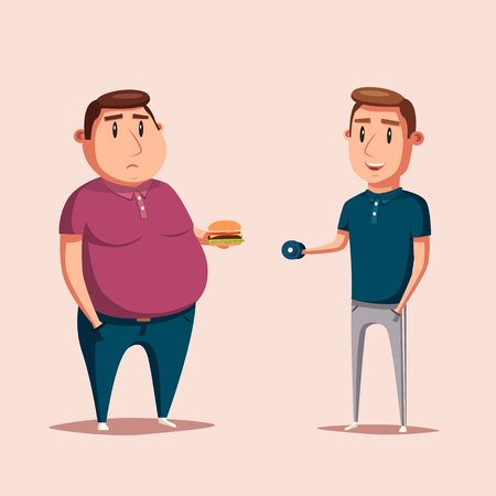 ugly people: Man before and after sports. Cartoon vector illustration. Diet and sport. Fat and strong character. Fitness. Sporty and ugly people.