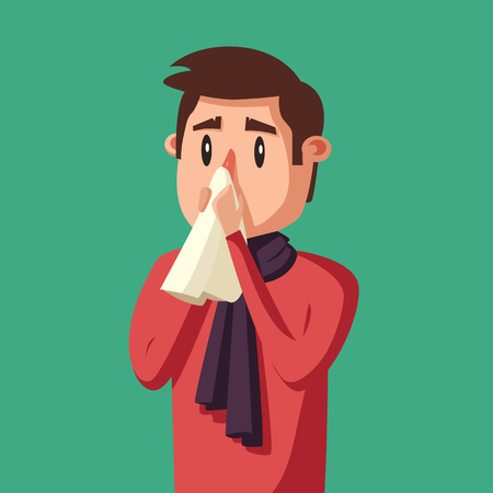 Sick man. Unhappy character. Vector cartoon illustration. Man with handkerchief in hand. Season allergy