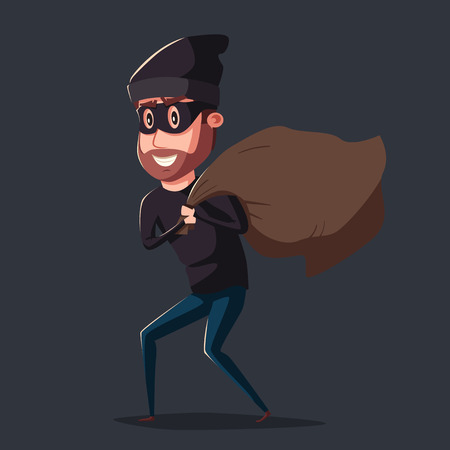 sneaking: Cute thief character. Vector cartoon illustration. Bandit with bag. Funny person. Happy hacker. Robber in mask