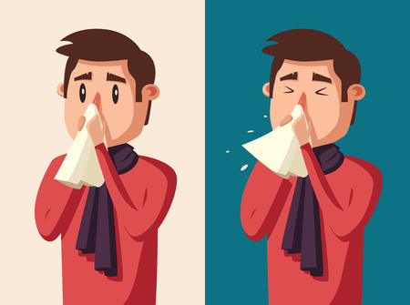 Sick man. Unhappy character. Vector cartoon illustration. Man with handkerchief in hand. Season allergy