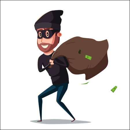 housebreaking: Cute thief character. Vector cartoon illustration. Bandit with bag. Funny person. Happy hacker. Robber in mask