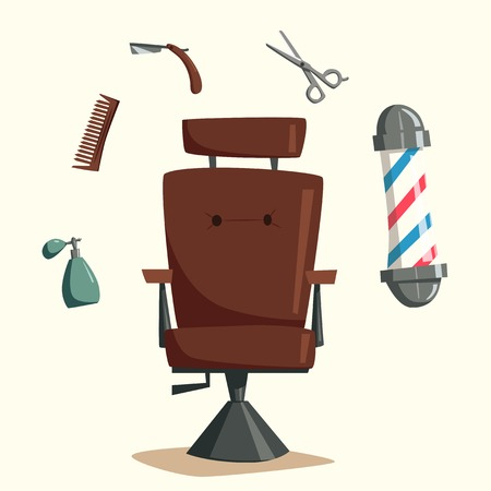 Barber shop. Cartoon vector illustration. Scissors in hand. Vintage hairstyle. Set of tools