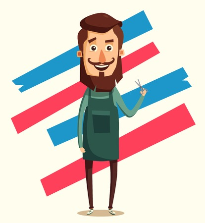 hairdress: Cute barber character. Barber shop. Cartoon vector illustration. Scissors in hand. Vintage hairstyle