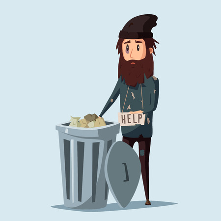 dirty clothes: Sad unemployed beggar. Homeless. Man in dirty rags. Character in torn clothes. Human holding sign Illustration
