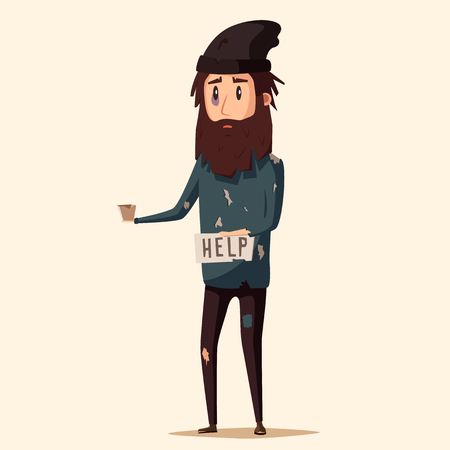 Sad unemployed beggar. Homeless. Man in dirty rags. Character in torn clothes. Human holding sign Illustration