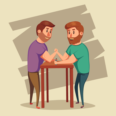 strong men: Arm Wrestling. Battle fighters. Cartoon vector illustration. Muscular people. Strong men. Challenge of friends Illustration