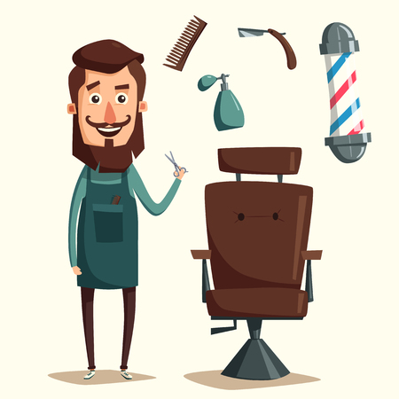 barber: Cute barber character. Barber shop. Cartoon vector illustration. Lounge chair. Scissors in hand. Vintage hairstyle. Set of tools