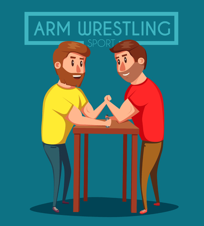 enemies: Arm Wrestling. Battle fighters. Cartoon vector illustration. Muscular people. Strong men. Challenge of friends Illustration