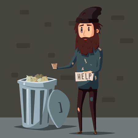 homeless: Sad unemployed beggar. Homeless. Man in dirty rags. Character in torn clothes. Human holding sign Illustration