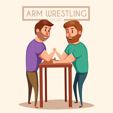 muscular men: Arm Wrestling. Battle fighters. Cartoon vector illustration. Muscular people. Strong men. Challenge of friends Illustration