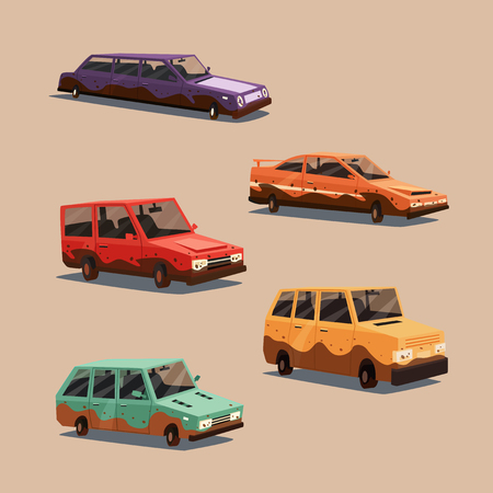 dirty car: Set of dirty vintage american automobile. Cartoon vector illustration. Car isolated. Design element. Carwash.