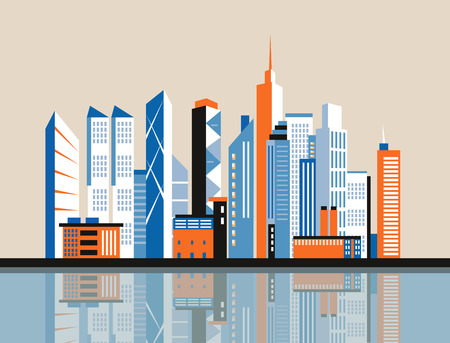 city scene: City downtown landscape. Skyscrapers in the city. Flat illustration. Business center. Geolocation area. Modern architecture. Vintage style.