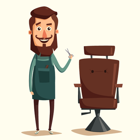 Cute barber character. Barber shop. Cartoon illustration. Lounge chair. Scissors in hand. Vintage hairstyle.