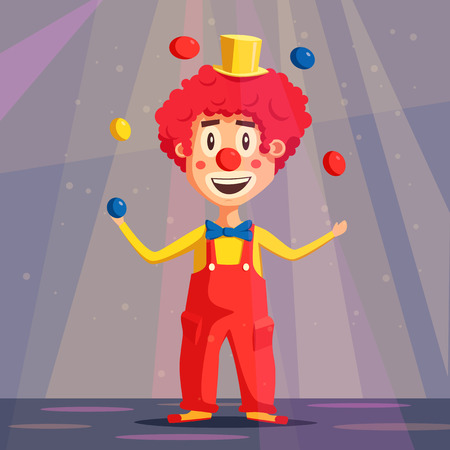 Happy circus clown. Cartoon illustration. Man juggling balls. Circus show. Vintage style.