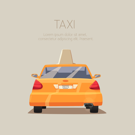 yellow cab: Taxi car. cartoon illustration. Isolated background. American transport. Service. Back view. Modern auto Yellow cab