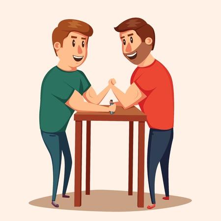 Arm Wrestling. Battle fighters. Cartoon illustration. Muscular people. Strong men. Challenge of friends