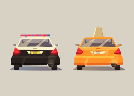 yellow cab: Police and Taxi car. cartoon illustration. Isolated background. American transport. Service. Back view. Modern auto. Yellow cab. Security and justice