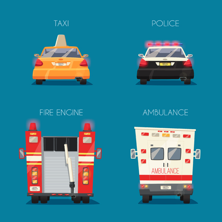 yellow cab: Police, Taxi, Ambulance car and Fire truck. cartoon illustration. Isolated background. Service. Back view. Modern auto. Yellow cab. Security and justice. Healthcare theme Save life