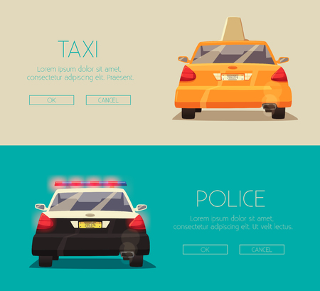 yellow cab: Police and Taxi car.  cartoon illustration. Isolated background. American transport. Service. Back view. Modern auto. Yellow cab. Security and justice Illustration