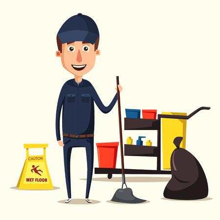 Schoonmaakpersoneel karakter met het reinigen van apparatuur. illustratie van het beeldverhaal. Schoonmaakbedrijf, service. Man in uniform. Professional schoner.
