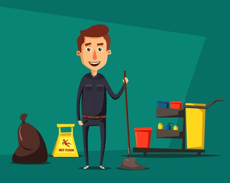 Cleaning staff character with cleaning equipment. Cartoon illustration. Cleaning company, service. Man in uniform. Professional cleaner.