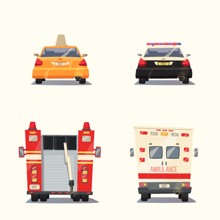 Police, Taxi, Ambulance car and Fire truck. cartoon illustration. Isolated background. Service. Back view. Modern auto. Yellow cab. Security and justice. Healthcare theme Save life Vector Illustration