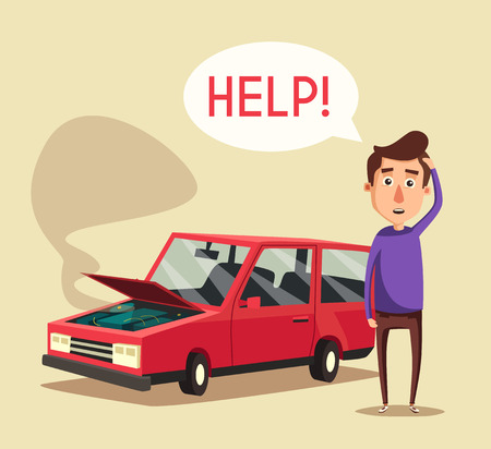 Gebroken auto. cartoon afbeelding. Hulp nodig. Auto met open kap. Ongelukkige man. Menselijk karakter Stock Illustratie
