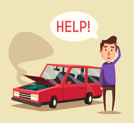 Broken car.  cartoon illustration. Need help. Car with open hood. Unhappy man. Human character Illustration