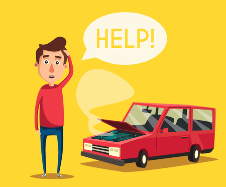 need help: Broken car. cartoon illustration. Need help. Car with open hood. Unhappy man. Human character Illustration