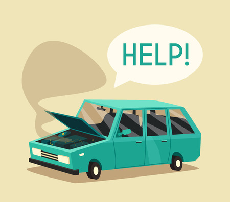 bad service: Broken car. cartoon illustration. Need help. Car with open hood