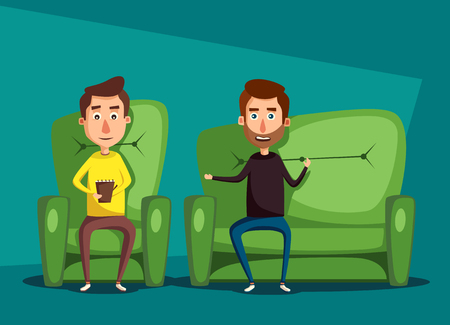 dealing: Patient talking to psychologist. Cartoon illustration. Psychotherapy counseling. Man dealing with stress. Psychology cabinet with sofa. Male character holding notepad