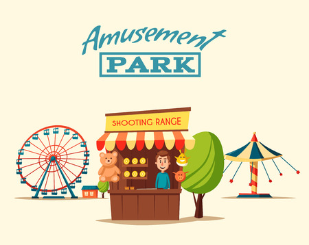 Amusement park theme. Cartoon illustration. Vintage style. Set of attractions. Icon collection. Funfair. Good emotions