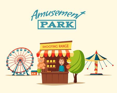 Pretpark thema. illustratie van het beeldverhaal. Vintage-stijl. Set van attracties. Icoon collectie. Kermis. goede emoties