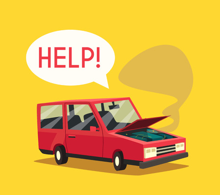 overheat: Broken car. Vector cartoon illustration. Need help. Car with open hood