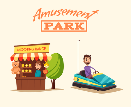 playground rides: Amusement park theme. Cartoon vector illustration. Vintage style. Good emotions. Shooting range. Dodgem car. Happy people. Set of attractions. Funfair. Good emotions