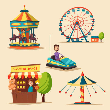 playground rides: Amusement park theme. Cartoon vector illustration. Vintage style. Set of attractions. Icon collection. Funfair. Good emotions Illustration